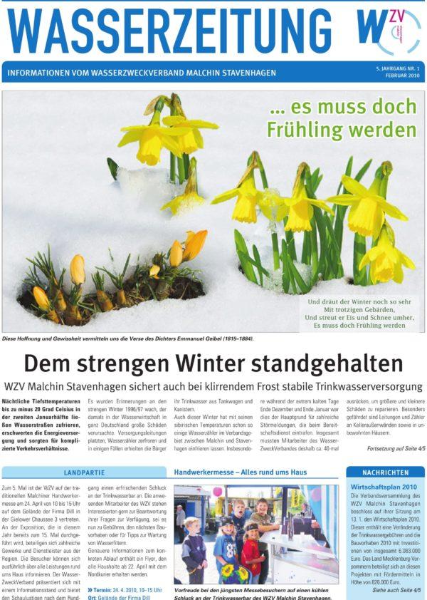 Wasserzeitung 01/2010 » WasserZweckVerband MalchinStavenhagen