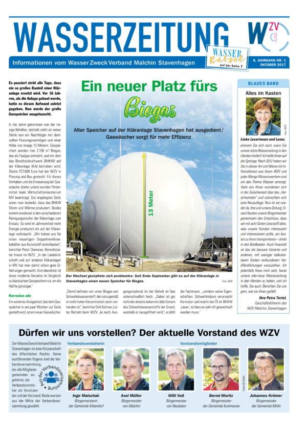 Wasserzeitung 10/2017 » WasserZweckVerband MalchinStavenhagen