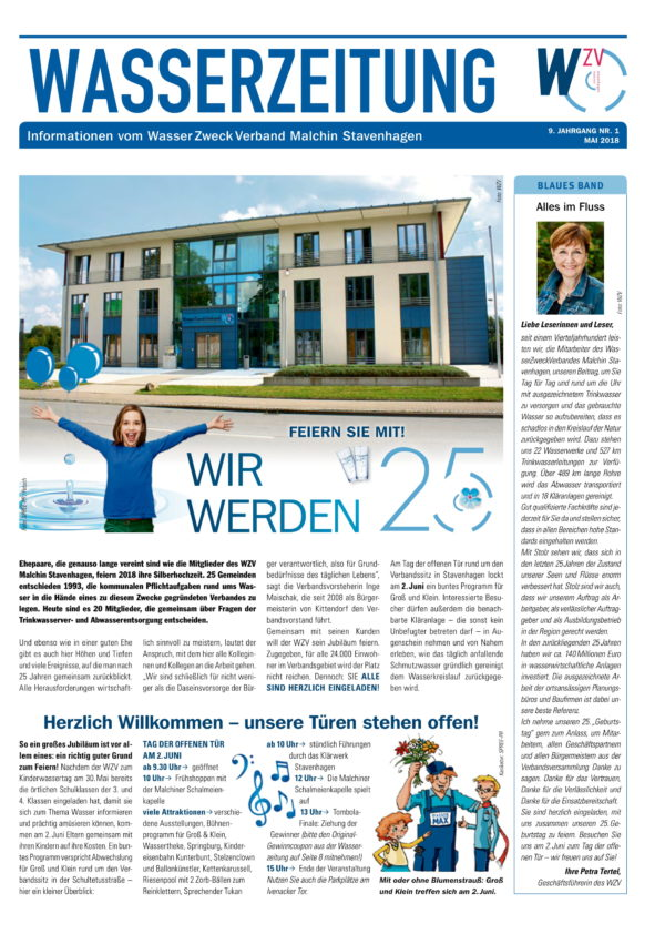 Wasserzeitung 05/2018 » WasserZweckVerband MalchinStavenhagen