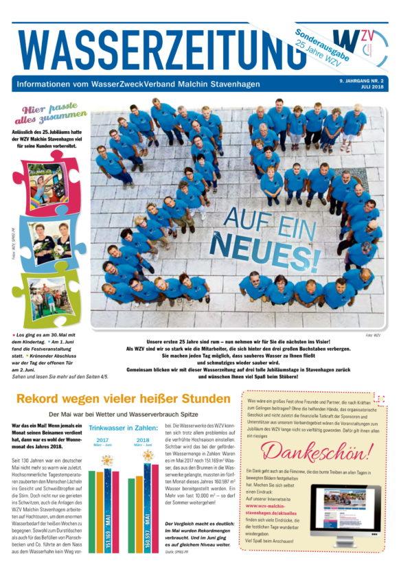 Wasserzeitung 07/2018 » WasserZweckVerband MalchinStavenhagen