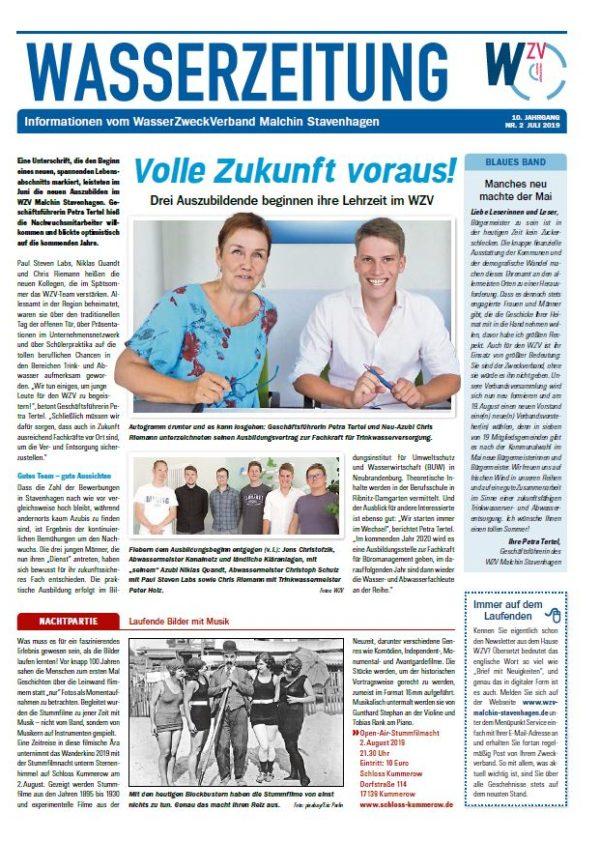 Wasserzeitung 07/2019 » WasserZweckVerband MalchinStavenhagen