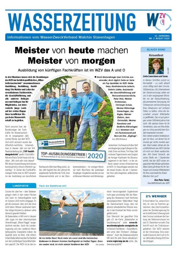 Wasserzeitung 08/2020 » WasserZweckVerband MalchinStavenhagen